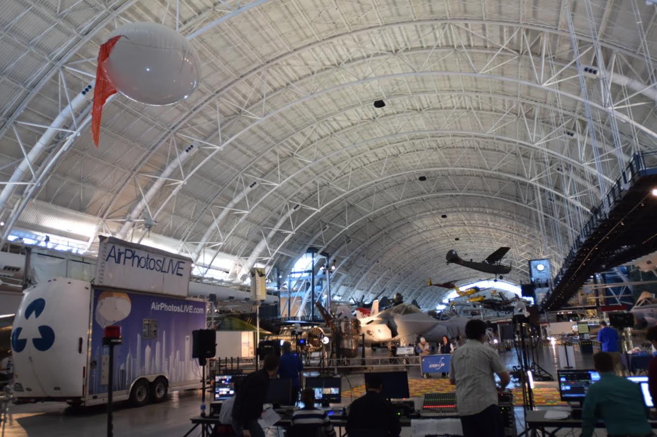 Curt Westergard's Aerostat Balloon at Smithsonian Hazy Center for NASA TV's STEM 30 education program. Photo by Curt Westergard.