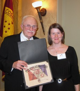 Jack Williams, ECWG chair, presents Gabby Salazar a certificate of appreciation after her talk. Photo by Darlene Shields