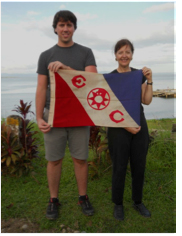 Johnson and Calderwood with the Explorers Club expedition flag