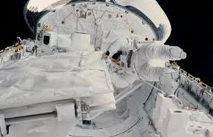 Astronaut Kathryn Sullivan during spacewalk, October, 1084.