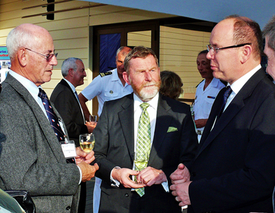From left: Norman Cherkis, Capt. Robert Ward, Royal Australian Navy (retired) and President of the IH, and HSH Prince Albert II of Monaco.