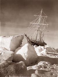 The Endurance trapped in ice.